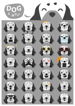 perro asustado: iconos emoji perro, vector, ilustración Vectores