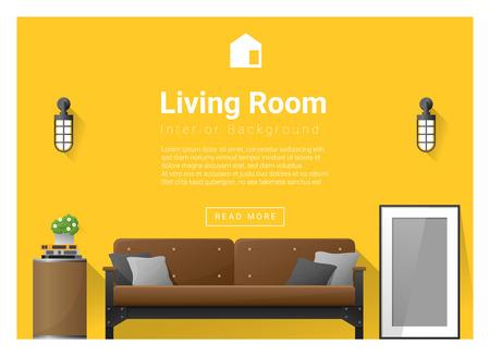 side table: Modern living room Interior background , vector, illustration