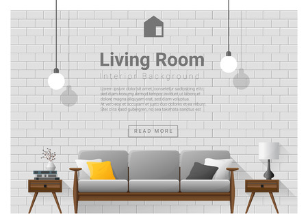 Woonkamer Binnenlandse achtergrond, vector, illustratie