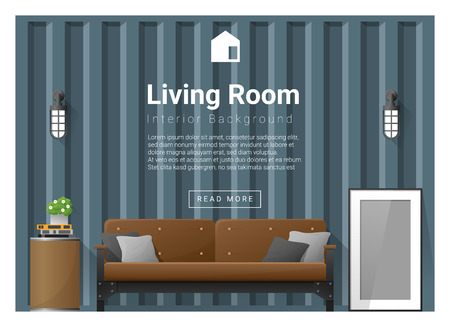 side table: Living room Interior background , vector, illustration
