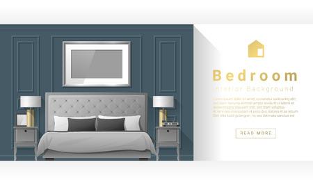 side table: Interior design Modern bedroom background , vector, illustration
