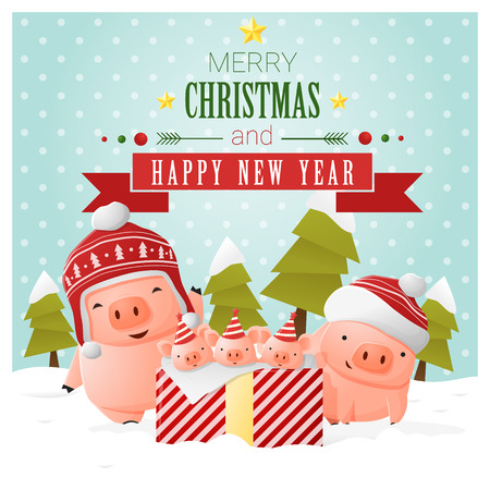 Merry Christmas and Happy New Year greeting card with pig family , vector , illustration