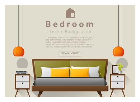 side table: Interior design bedroom background, vector , illustration Illustration