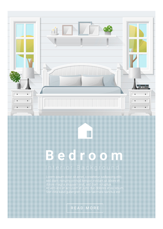 side table: Interior design Modern bedroom banner , vector, illustration