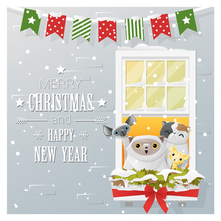 new year cat: Merry Christmas and Happy New Year greeting card with cat family , vector , illustration Illustration