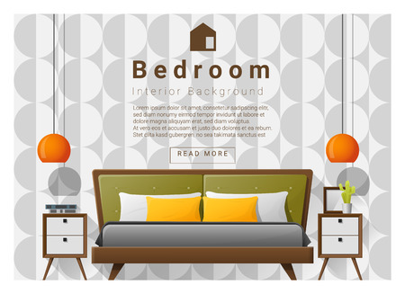 Modern bedroom background Interior design , vector , illustration