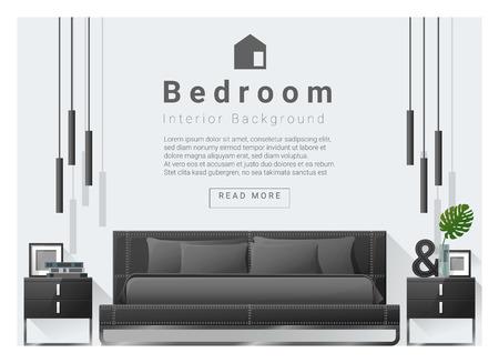 Modernes Schlafzimmer Hintergrund Interior Design, Vektor, Illustration