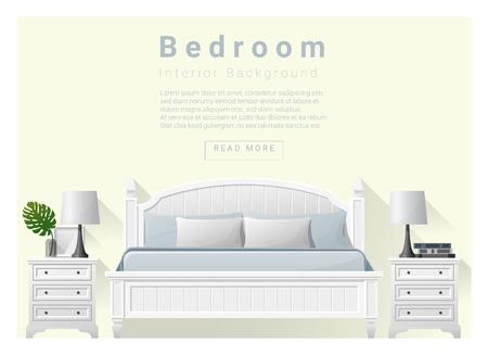 side table: Modern bedroom background Interior design , vector , illustration