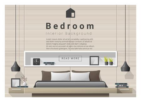 Fond de chambre à coucher moderne Design d'intérieur, vecteur, illustration