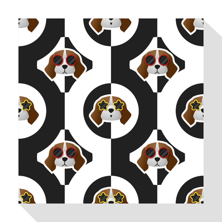 whelps: Animal seamless pattern collection with beagle dog , vector , illustration