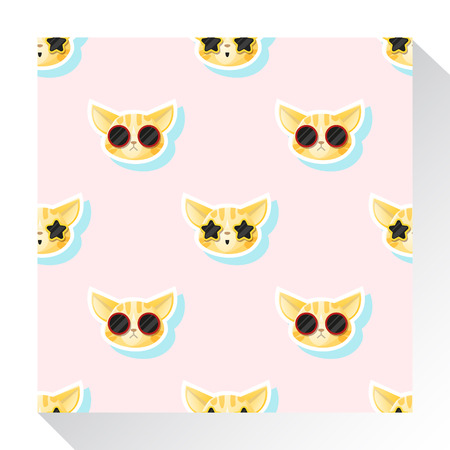 moggy: Animal seamless pattern collection with cat , vector , illustration