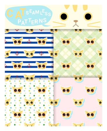 Set of animal seamless patterns with cat , vector , illustration