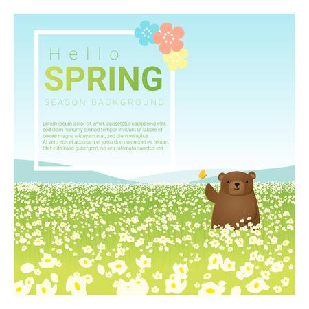 grass sky: Hello spring landscape background with bear , illustration