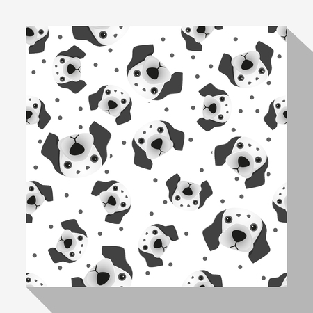 dalmatian: Animal seamless pattern collection with dalmatian dog , illustration