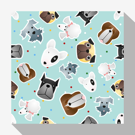 Animal seamless pattern collection with dog , illustration