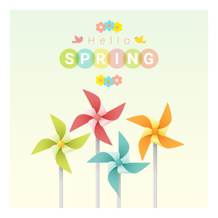 pinwheels: Hello spring background with colorful pinwheels , vector , illustration
