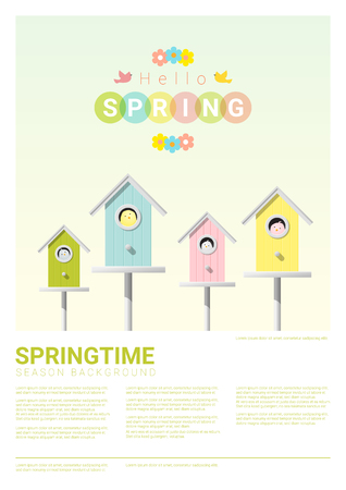 Hello spring background with little birds in birdhouses , vector , illustration