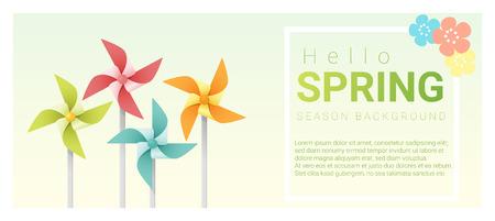 Bonjour fond de printemps avec moulinets coloré, vecteur, illustration Vecteurs
