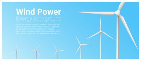 Energy concept background with wind turbine , vector , illustration Illustration