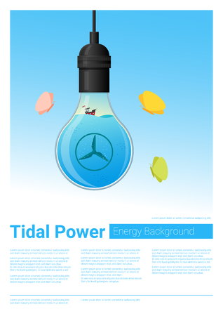 Energy concept background with tidal energy in light bulb , vector , illustration Illustration