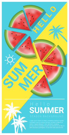 HI: Hello summer background with watermelon , vector , illustration Illustration