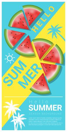 Hola fondo de verano con sandía, vector, ilustración