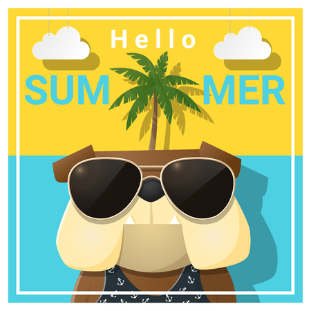 Hello summer background with dog wearing sunglasses , vector , illustration
