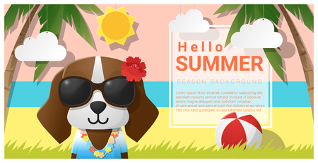 Hello summer background with dog wearing sunglasses.