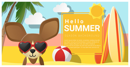 chihuahua: Hello summer background with dog wearing sunglasses.