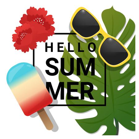 eyewear fashion: Hello summer background with tropical summer element , vector , illustration