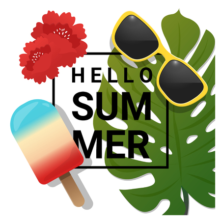 Hello summer background with tropical summer element , vector , illustration