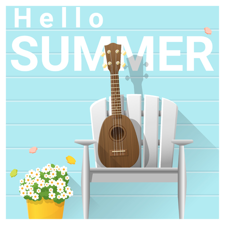 Hello summer background with ukulele on white chair, vector, illustration