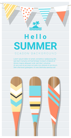 Hello summer background with painted canoe paddle