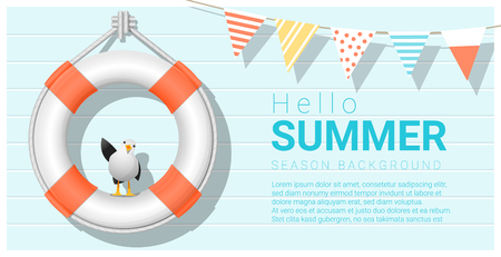 Hello summer background with lifebuoy Illustration