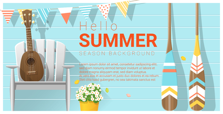Hello summer pattern with ukulele on white chair and canoe paddle , vector , illustration 矢量图像
