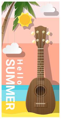 Hello summer pattern with ukulele , vector , illustration