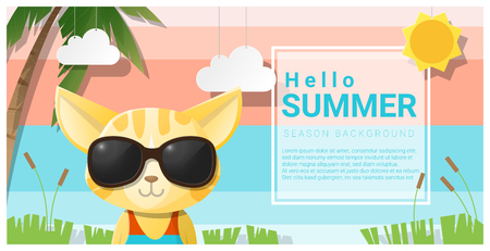 Hello summer background with cat wearing sunglasses , vector , illustration