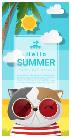 accbf8ada3ac  77478237 - Hello summer background with cat wearing sunglasses