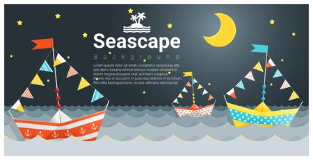 Zeegezichtachtergrond met Kleurrijk document schip, vector, illustratie