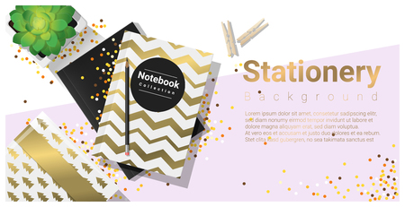 Creative scene with colorful stationery background , vector , illustration Illustration