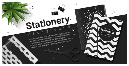 Creative scene with black and white stationery background , vector , illustration Illustration