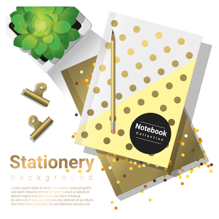 Creative scene with stationery background , vector , illustration