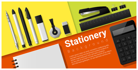 office stapler: Stationery scene with set of office supplies background , vector , illustration