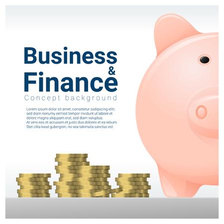 Business and Finance concept background con salvadanaio, vettore, illustrazione Vettoriali