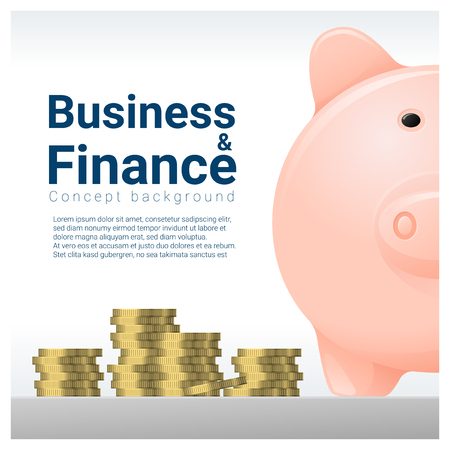 Fondo de concepto de negocios y finanzas con hucha, vector, ilustración Ilustración de vector