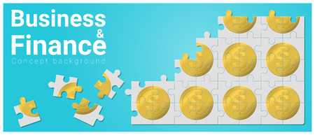 Business and Finance concept background with money jigsaw puzzle , vector , illustration