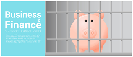 confined: Business and Finance concept background with piggy bank in jail , vector , illustration Illustration