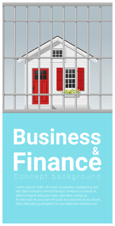 Business and Finance concept background with house in jail , vector , illustration