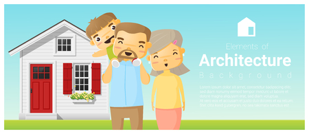 Happy family standing outside their house background , vector , illustration Illustration