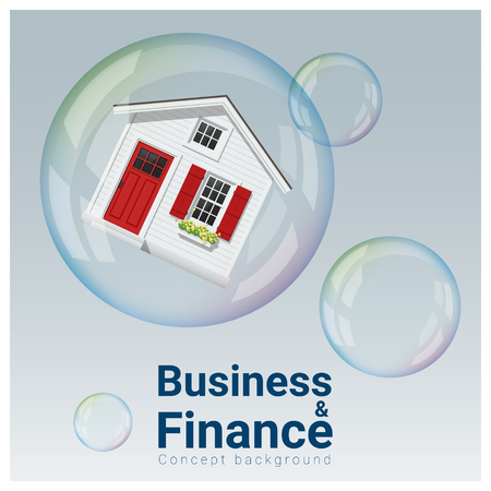 bankrupt: Business and Finance concept background with housing bubble , vector , illustration